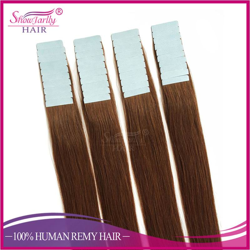 Ali double drawn human remy european Russian tape hair extension dark brown color pu seamless skin weft from china factory