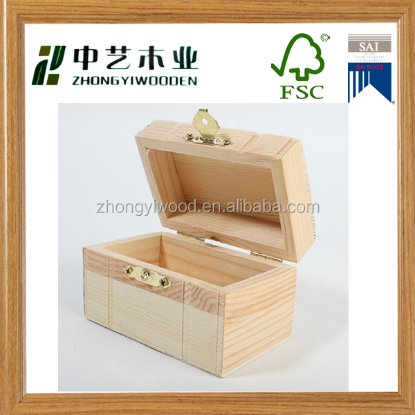 2016 new arrive custom wood gift packing box small unfinished art minds wooden craft boxes wholesale