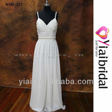 RSW217 Spaghetti Strap V-Neck Open Back Wedding Dress