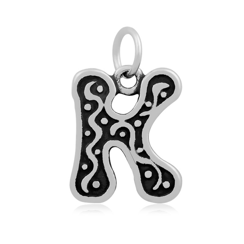 letters of an alphabet charms decorative pattern <strong>K</strong> pendants stainless steel jewelry