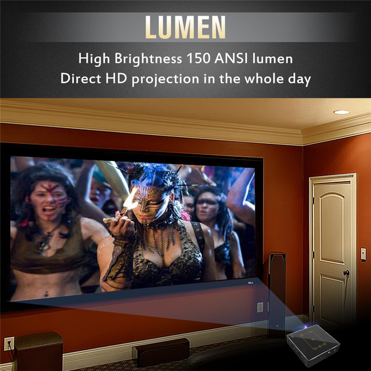 ultra short throw projector C9 RK3328 2G 16G OS RAM Q8 display chip with 150 Lumens projector power supply