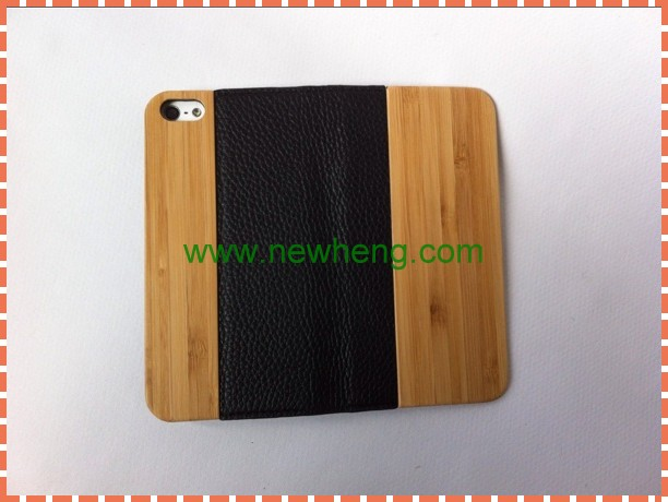 New design Carbonized bamboo wood+leather Case for iPhone5