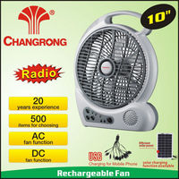 Low price usha 10'' rechargeable led fan with radio function