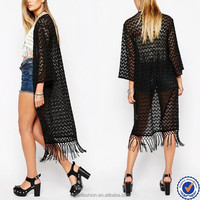 trendy clothing women long lace cardigan with fringe black long sleeve blouse with lace