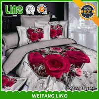 3d oil painting print bedding set/printed king size flat sheets/king size bed sheets