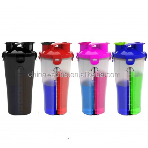 700ml Dual Threat Shaker Bottle Protein Mixer Water Cup with Double Storage Compartment