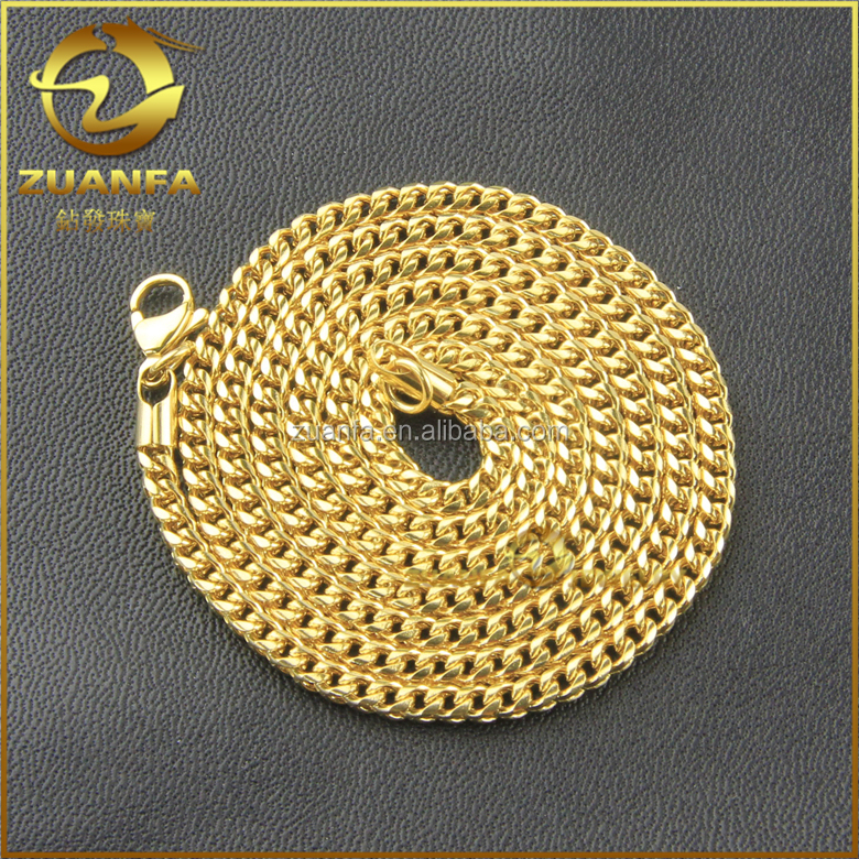 wholesale good quality gold plated stainless steel cuban chain necklace gold chains men's