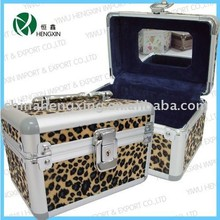 Mini cute makeup box with mirror leopard pattern