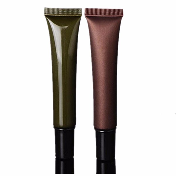 20ML Empty Plastic PE Soft Tube Hose Packaging Pickle Green/Coffee Color for Eye Cream / Eye Glue with Black Cap and Nozzle Tip