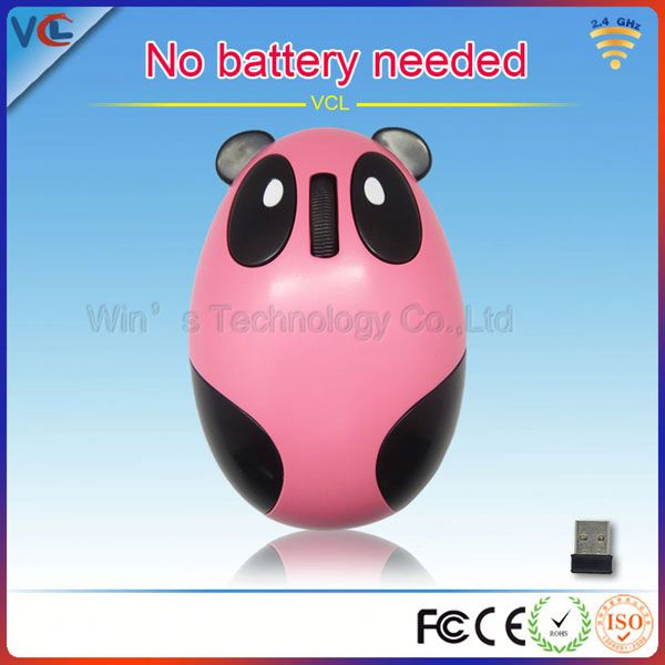 2.4G rechargeable pink cute kids computer panda mouse