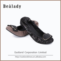 (E1715-7) 2016 Fashion flat lady dress shoes elastic ballerina blowing rubber outsole sheep suede leather shoes