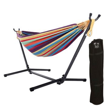 HR  Big Size Brazilian  Hammock 240x160cm With 10FT Steel Stand combo