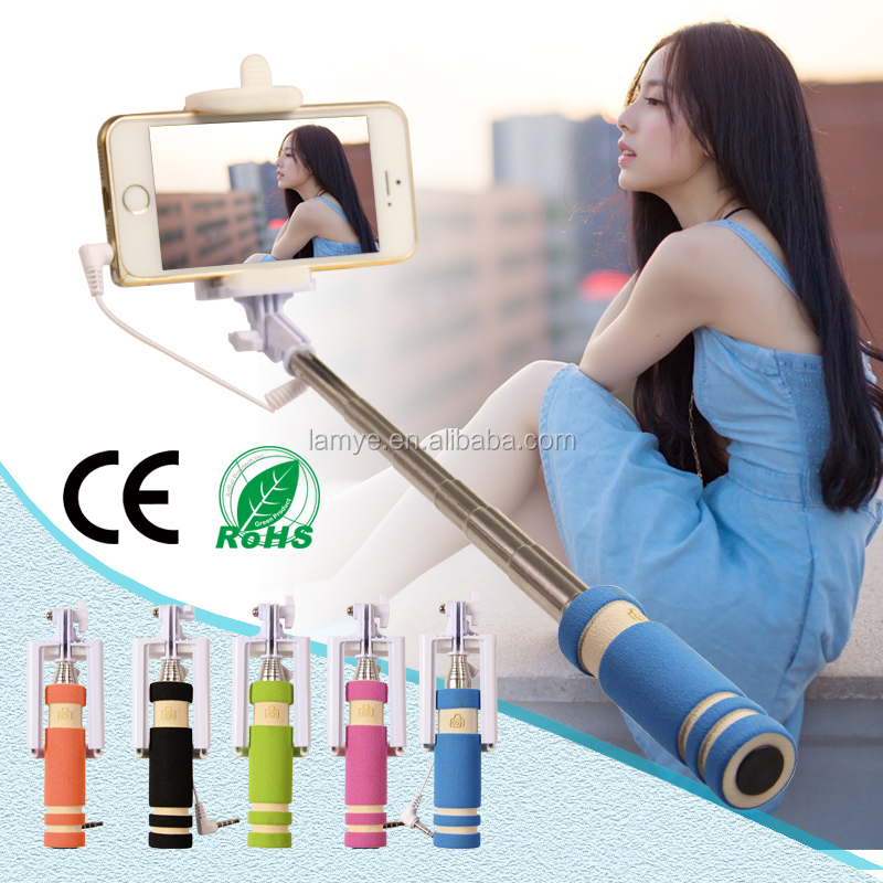 2016 wholesale promotion mini selfie stick cheap mini monopod selfie stick with wire ce rohs oem. Black Bedroom Furniture Sets. Home Design Ideas