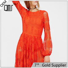 2017 Updates Red Adrianna Papell Lace Skater Maxi Long Bell Sleeve Dress UK