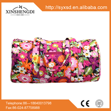 2016 hot high quality 100% cotton quilted fabric floral fashion fancy hipster women beach duffle travel bag