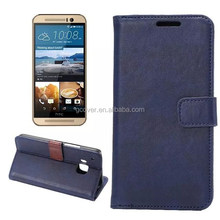 hot selling for HTC One M9 Navy blue genuine leather case