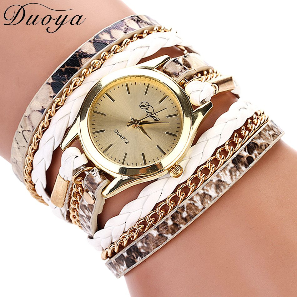 2016 New Fashionable Colorful Weave Wrap Rivet Leather Bracelet watch for women