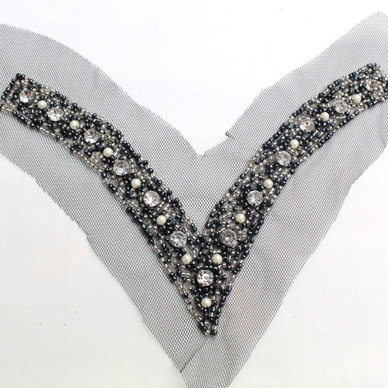 V Collar Sequins Lace Fabric ,Wedding Dress Collar Lace For Sewing Supplies Crafts