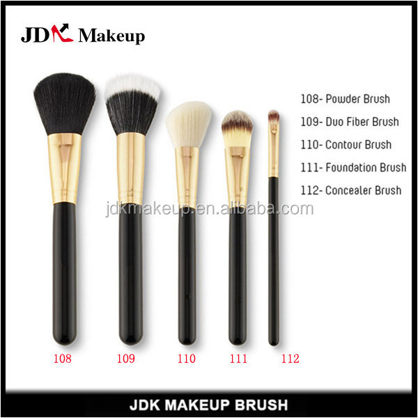 5pcs Gold Ferrle Brush Set, Duo Fiber Face Essential Air Brush Makeup Kit