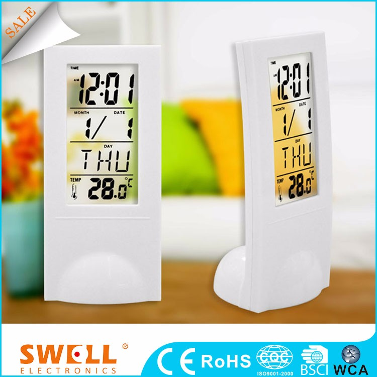 Swell Digital Desktop Time And Calendar Display Alarm Thin Wall Clock