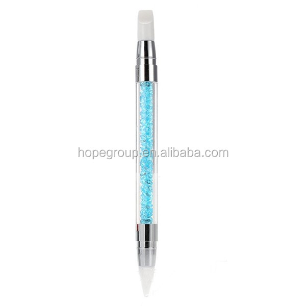 Beauty Dual Head Acrylic Handle Rhinestone Nail Art Silicone Brush New M02208