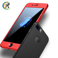 2017 New Hard Hybrid PC 360 degree cell phone case with Tempered Glass for iPhone 7 7 plus 6 6 plus