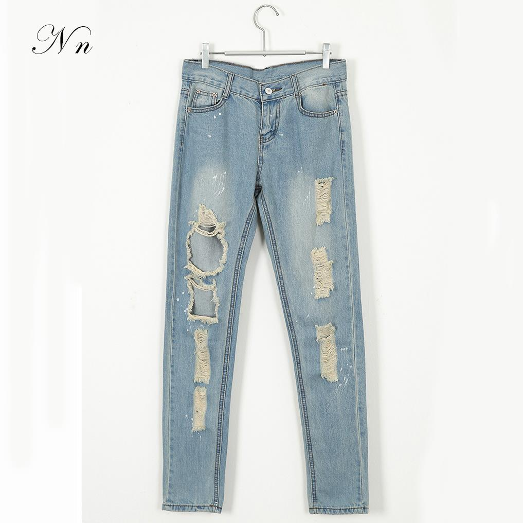 2015 New Women Ripped Jeans Autumn Spring Skinny Ladies Fashion Light Blue Hole Jeans Denim Zipper Feminino Women Clothing WP03
