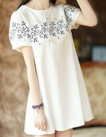 2015 summer korean style maternity fashion embroideres dress