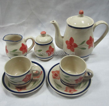 stoneware hand painted fresh stamp design tea pot set