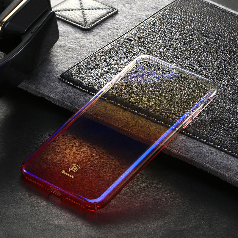 Baseus Luxury Aurora Transparent Glaze Case Ultrathin Clear Gradient PC Back Cover for iPhone 7 Plus 5.5 inch Mobile Phone Case
