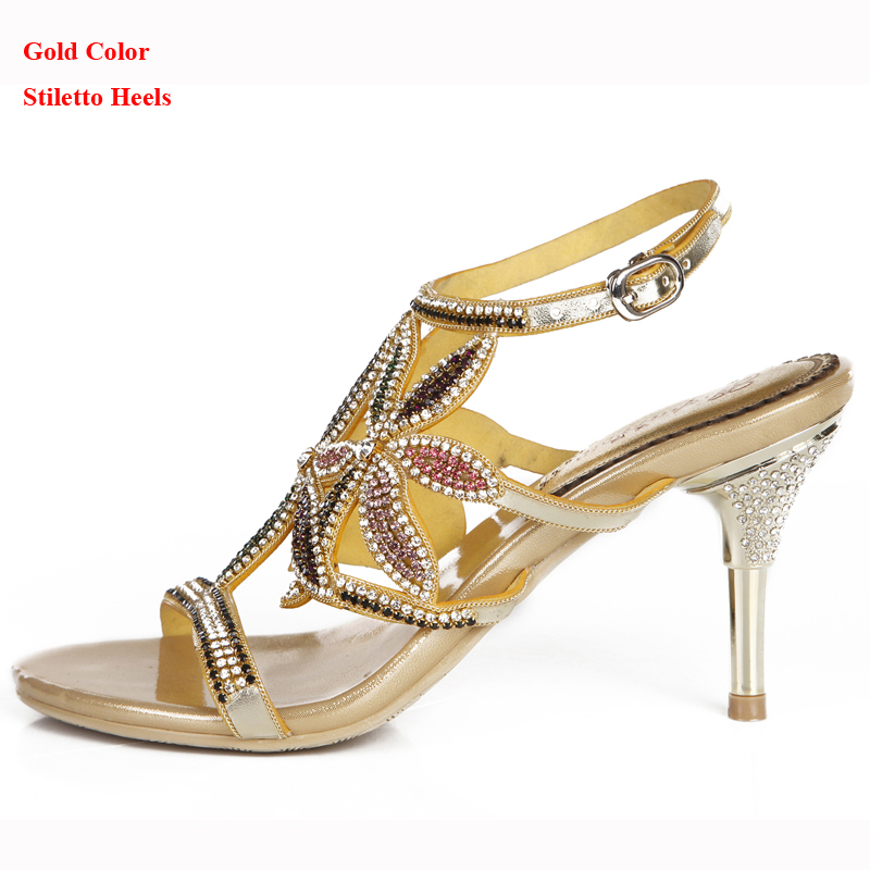 2018 New Rhinestone Summer Sandals Stiletto Heel Beautiful Women ... 47f4e3199699