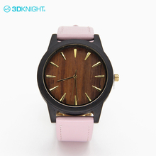 Best quality Solid & index dial watch wood with strap leather