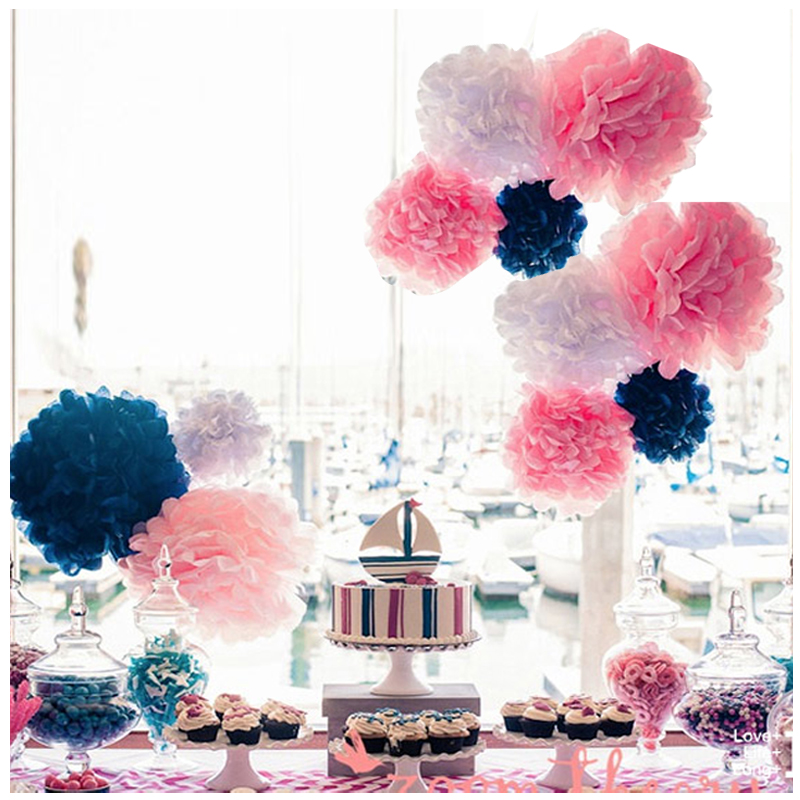8''(20cm) DIY paper Pom Pom Flower Decor for Outdoor indoor Party <strong>Decoration</strong> 15 Assorted Colors wedding birthday decor supplies