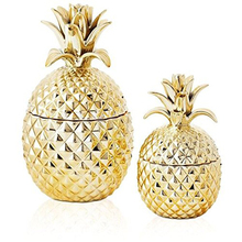Gold Ceramic Pineapple Jars With Lids Set