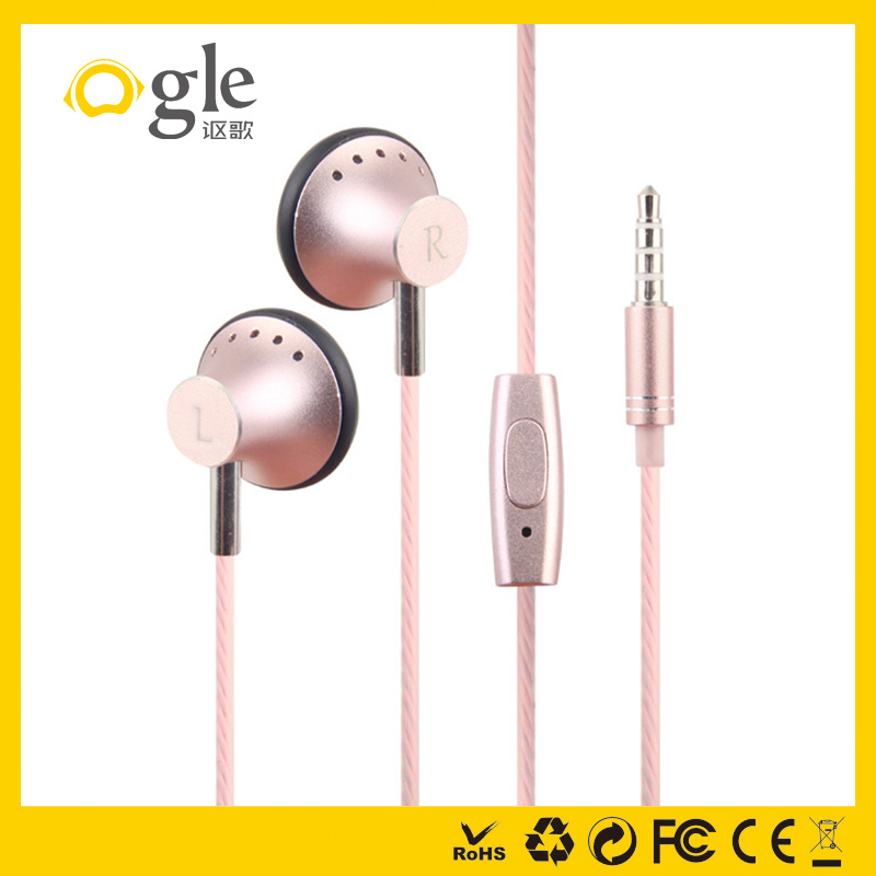 good earphone ear plug cheap wired metal earphone with mic