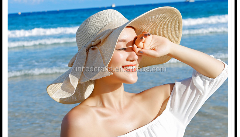 Sun Hat Summer Ladies Foldable Wide Vison cap Solid Color Sunscreen Shade Straw Hat Women Beach Headwear