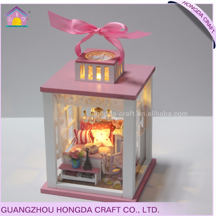 Wholesale with light and furniture DIY miniature doll house vietnam wooden toys