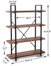 4-<strong>Shelf</strong> Modern Style Bookshelf with <strong>Shelves</strong> and Metal Frame of Open Bookcases Furniture for Home Office