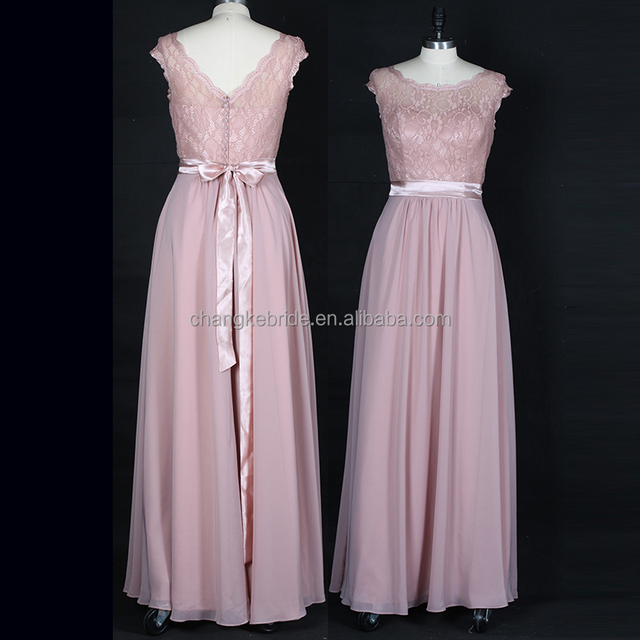 Hot Sale Party Dress Lace Chiffon Real Photo Satin Belts Long Cheap Bridesmaid Dress