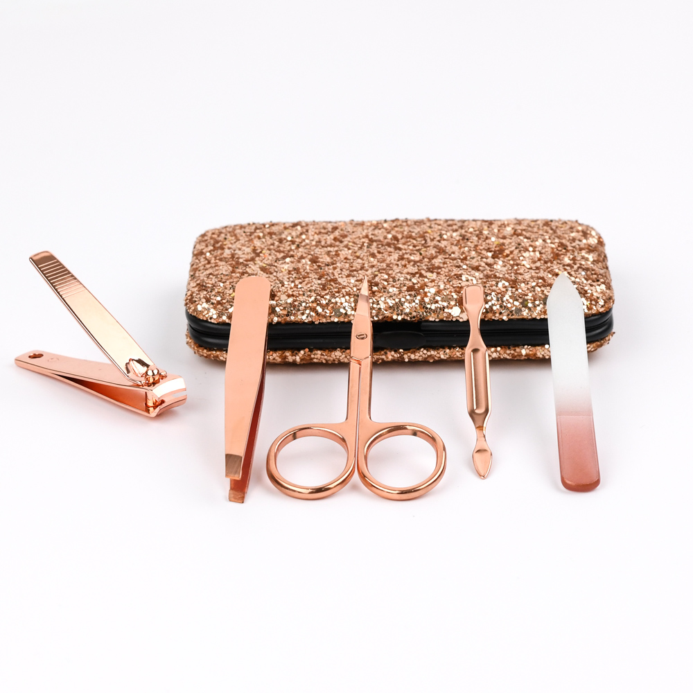 Gift Beautiful Bling 5 Piece Custom Gold Manicure Set Professional