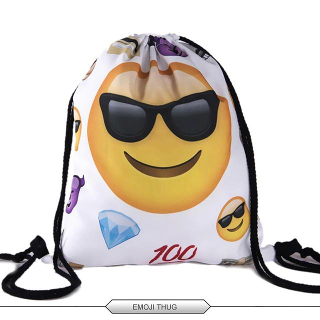Deanfun Bag Ladies Emoji Backpack 2016 New Fashion Women Backpacks 3D Printing Bags Drawstring Bag For Men