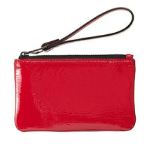 Red Gloss PU Cosmetic Bag With Wristlet