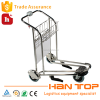 Stainless steel three wheels luggage trolley parts for airport HAN-AT12 1566