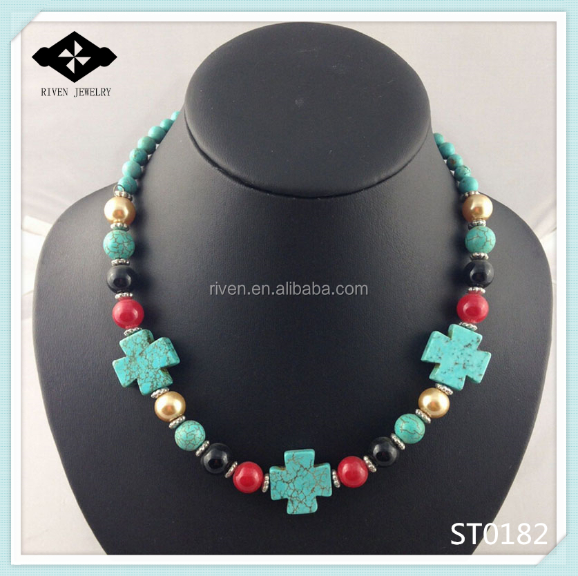 ST0182 Black Red Gold Glasses Bead Stone Turquoise Corss Necklace For Ladies.jpg