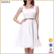 Latest Fashion A-line White Net New Model Girl Dress Simple Designs Lady Women Summer Dresses With Belt