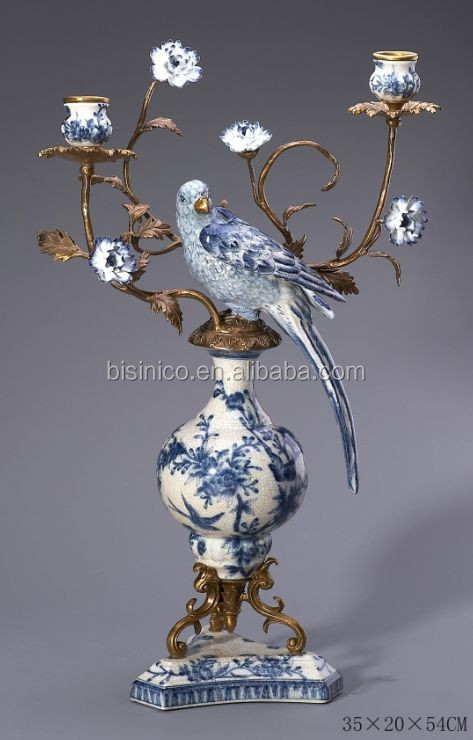 Blue & White Ceramic Enamel Parrot Candle Stick, Imitated Parrot Candle Holder For Three Head, Porcelain & Brass Home Decoration