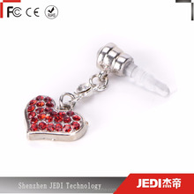 Transition color diamond cute heart shape phone anti dust plug for 3.5mm jack_HL4253