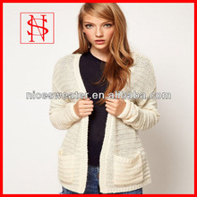 Fashion cardigan with two pockets women's knitwear