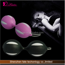 100 X 45 mm Six Color Vagina Trainer Dual Metal Ball,Silicone Covered Massager with Strap Ben Wa Ball