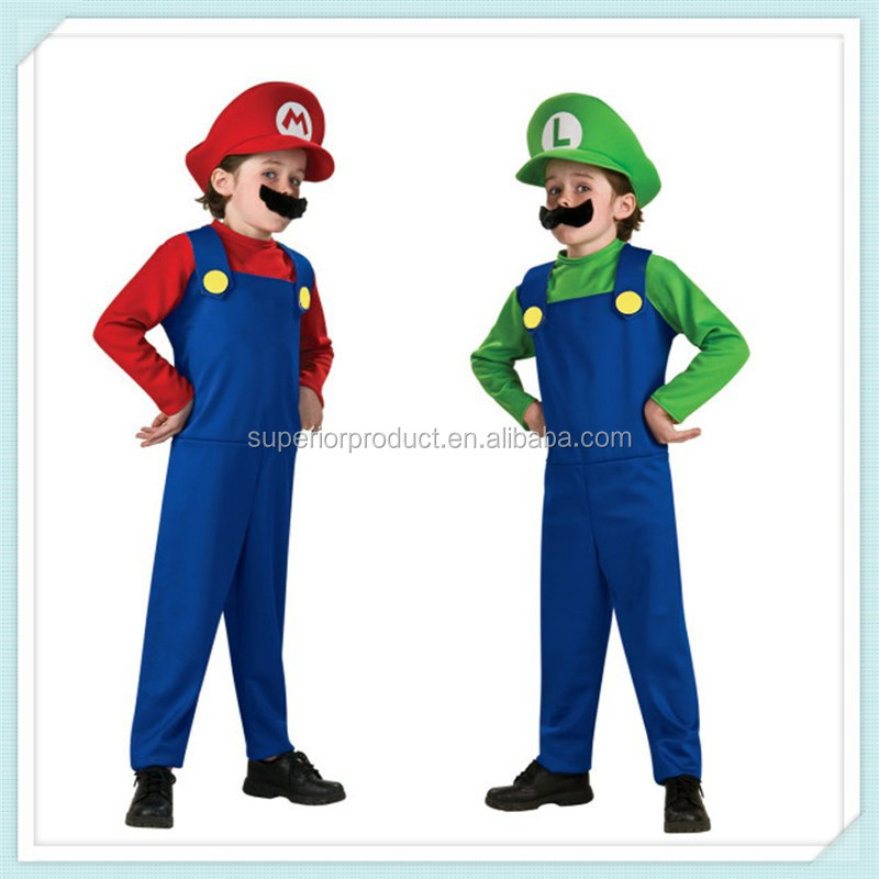 Hot Sale! Children Funny Cosplay Costume Super Mario Luigi Brothers Plumber Fancy Dress Up Party Costume Cute Kids Costume